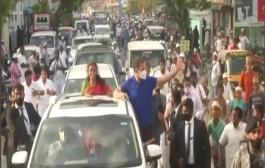 तमिळनाडू मध्ये आज काँग्रेस नेते राहुल गांधी यांनी केला डिंडीगुल रोड-शो